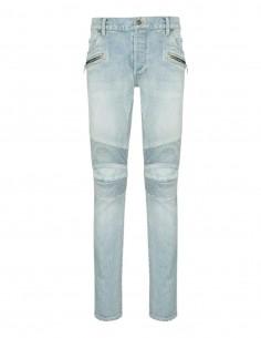 Blue Balmain washed-out biker slim jeans for men - FW21