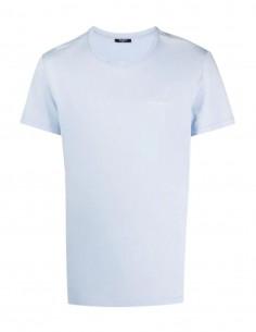 T-shirt bleu Balmain logo blanc en velours pour homme - FW21