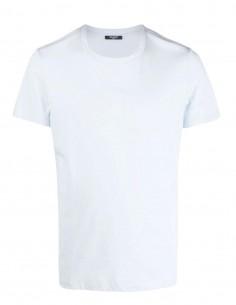 T-shirt bleu Balmain logo blanc pour homme - FW21