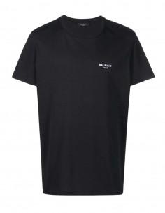 Black Balmain tee shirt with white logo in velvet for men - FW21