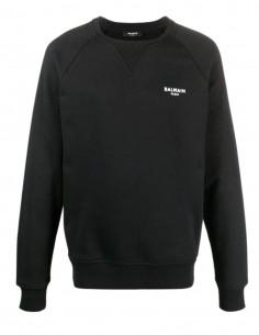 Sweat noir logo blanc en velours Balmain pour homme - FW21