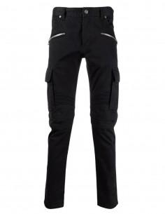 Balmain black biker cargo pants for men - FW21