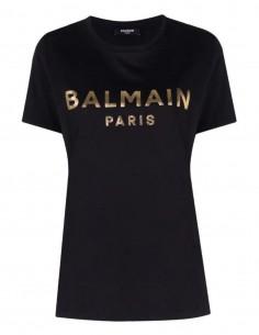 T-shirt noir Balmain logo doré pour femme - FW21