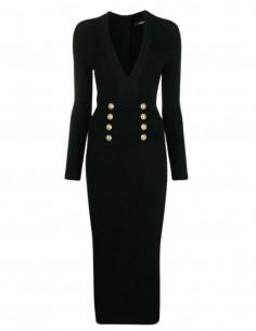 Balmain long black ribbed dress for women - FW21