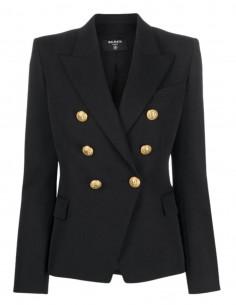 Veste de blazer noir Balmain en viscose pour femme - FW21