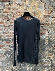 T-shirt noir BBS à manches longues côtelés pour homme - FW21
