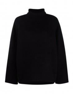 Pull large TOTÊME col roulé en laine noir pour femme - FW21