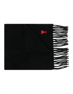 Black Ami Paris fringed scarf in wool for women and men - FW21