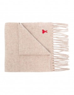 Beige Ami Paris fringed scarf in wool for women and men - FW21