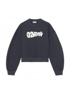 Sweat navy en coton avec logo blanc Ganni pour femme - FW21