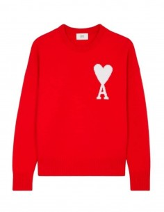 Pull AMI PARIS ample rouge à col rond en laine mixte - FW21