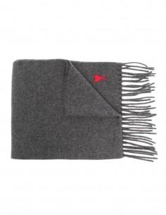 Echarpe Ami Paris grise en laine à franges mixte - FW21
