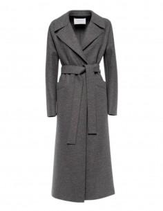 Harris wharf long bathrobe style grey coat for women - FW21