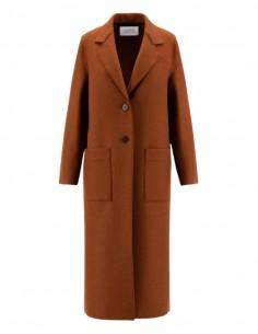 Harris Wharf long orange coat in virgin wool for women - FW21