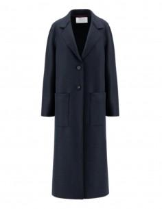 Harris Wharf long black coat in virgin wool for women - FW21