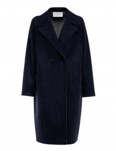 Harris Wharf mid-length navy coat with tennis stripes for women - FW21