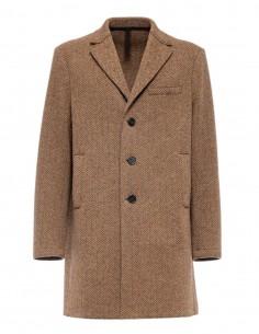 Harris Wharf straight cut brown coat with chevron print for men - FW21