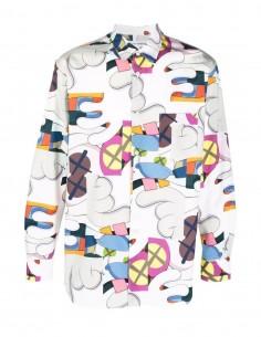Chemise blanche Comme des garçons Shirt imprimé multicolore Kaws pour homme - FW21