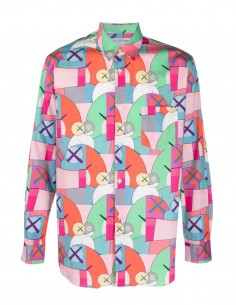 Comme des garçons Shirt pink shirt with Kaws multicolored print for men - FW21