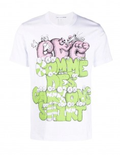 T-shirt blanc Comme des garçons Shirt imprimé vert et rose Kaws pour homme - FW21