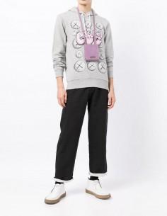 Sweat gris à capuche Comme des garçons Shirt imprimé rose Kaws pour homme - FW21