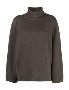 Totême khaki oversized turtleneck jumper for women - FW21
