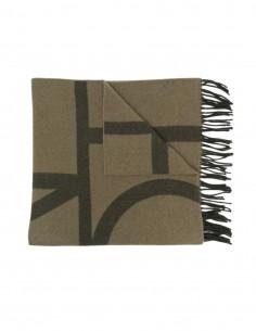 Echarpe Totême en laine vierge kaki monogramme pour femme - FW21