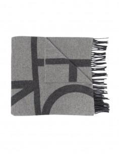 Echarpe Totême en laine vierge grise monogramme pour femme - FW21