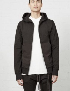Thom Krom brown bi-material sweatshirt with hood for men - FW21