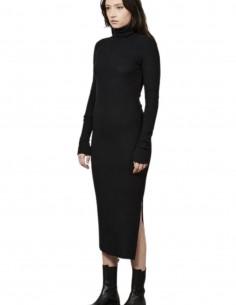 Longue robe noire Thom Krom à col montant pour femme - FW21