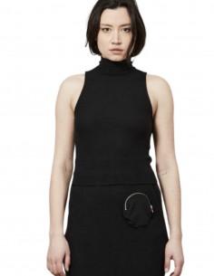 Thom Krom black turtleneck sleeveless top for women - FW21