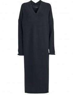 Longue robe noire à col V  Benenato pour femme - FW21