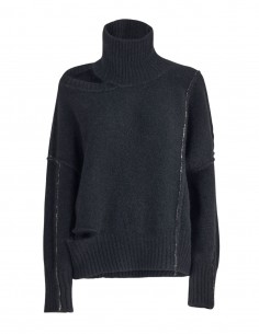 Pull noir à épaule dénudée Benenato pour femme - FW21