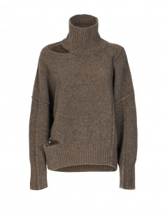 Brown Benenato off-the-shoulder sweater for women - FW21