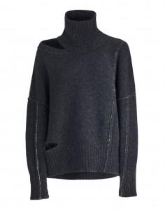 Pull gris à épaule dénudée Benenato pour femme - FW21