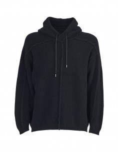 Benenato black wool and yak hooded sweater for men - FW21