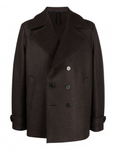 Harris Wharf brown faux fur pea coat for men - FW21