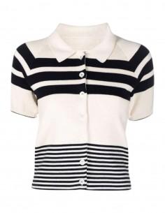 Margiela ecru striped button-down sweater for women - FW21