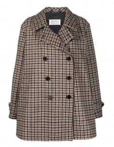 Maison Margiela brown checkered pea coat for women - FW21