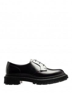 Adieu X Mfpen black lace-up waxed leather derby shoes for men - FW21