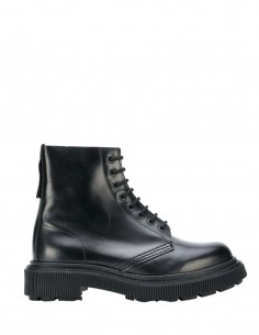 Adieu x Etudes black waxed leather ankle boots for women - FW21