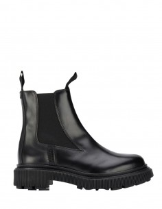 Adieu x Etudes black chelsea boots in waxed leather unisex - FW21