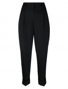 Pantalon noir à pinces avec revers Ami Paris pour femme - FW21