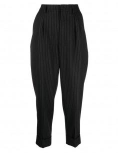 Pantalon noir à rayures tennis en laine Ami Paris pour femme - FW21