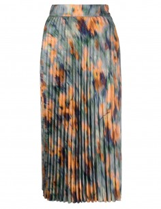 """OFF-WHITE mid-long pleated skirt in viscose printed with the pattern """"Chine Flowers"""" for women - FW21"""