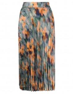 """Jupe OFF-WHITE mi-longue plissée en viscose à imprimé """"Chine Flowers"""" pour femme - FW21"""