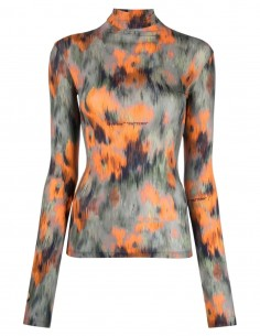 """OFF-WHITE turtleneck printed """"China Flowers"""" top for women - FW21"""