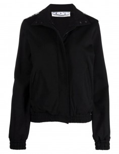 Off-White black jogging jacket with white logo band for women - FW21