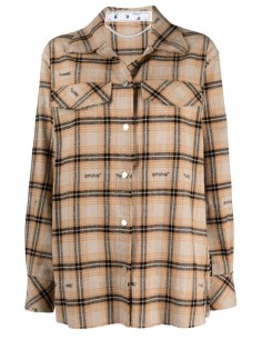 Beige overshirt Off-White with checks for women - FW21