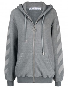 """Sweat gris zippé à capuche """"Arrow"""" Off-White pour femme - FW21"""